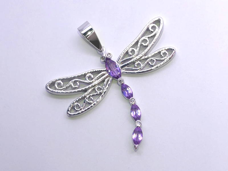 pendant dragonfly with alexandrite