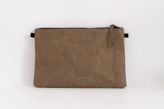 клатч из крафтовой бумаги, цвет тауп, размер M