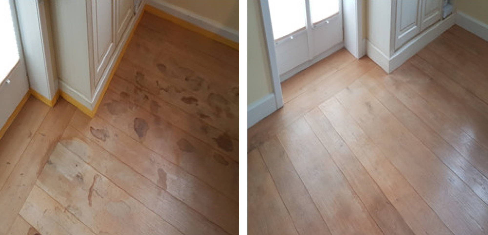 Before and after image of stain removal on a floor in a Munich residence