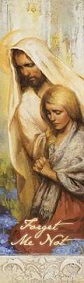 LDS art bookmark featuring a painting of Jesus comforting a young woman who is praying.