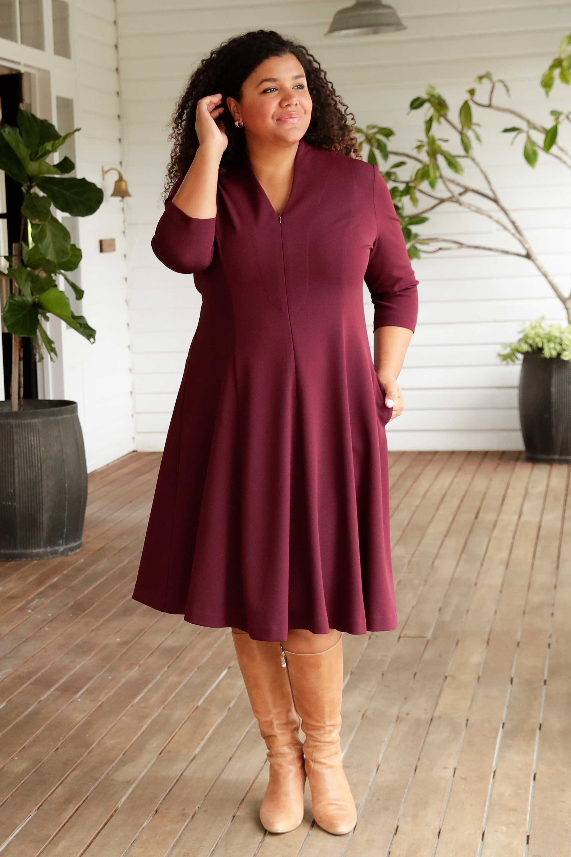 Leina & Fleur have Designed the Clara Dress in Shiraz for the Professional Woman. Comfortable and Stylish Dress for Work. Leina & Fleur are Proudly Australian Made and Carry Sizes 8 to 24.
