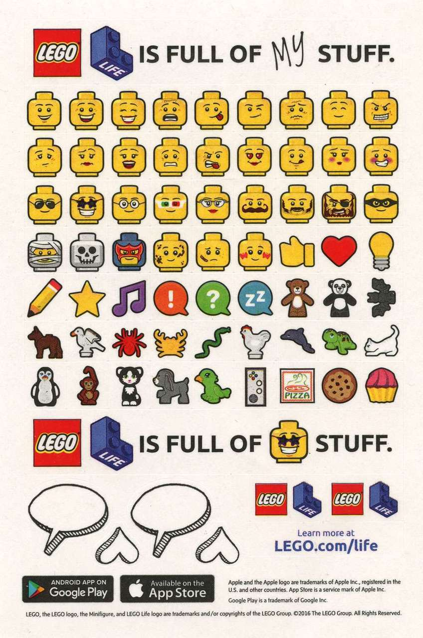 LEGO stickers with texts