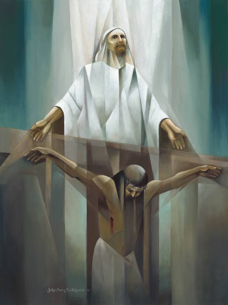 Abstract crucifixion painting. Jesus' spirit leaves the His crucified body.