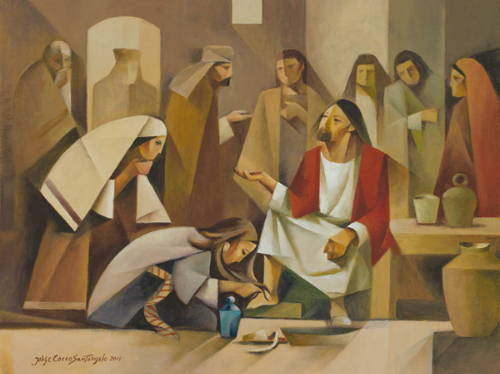 Modern painting of a woman anointing Jesus' feet with her hair.