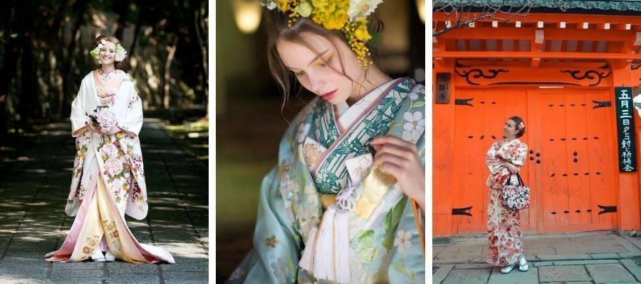 Tourists wearing Japanese Kimono