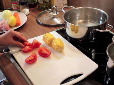 Cut ingredients into chunks