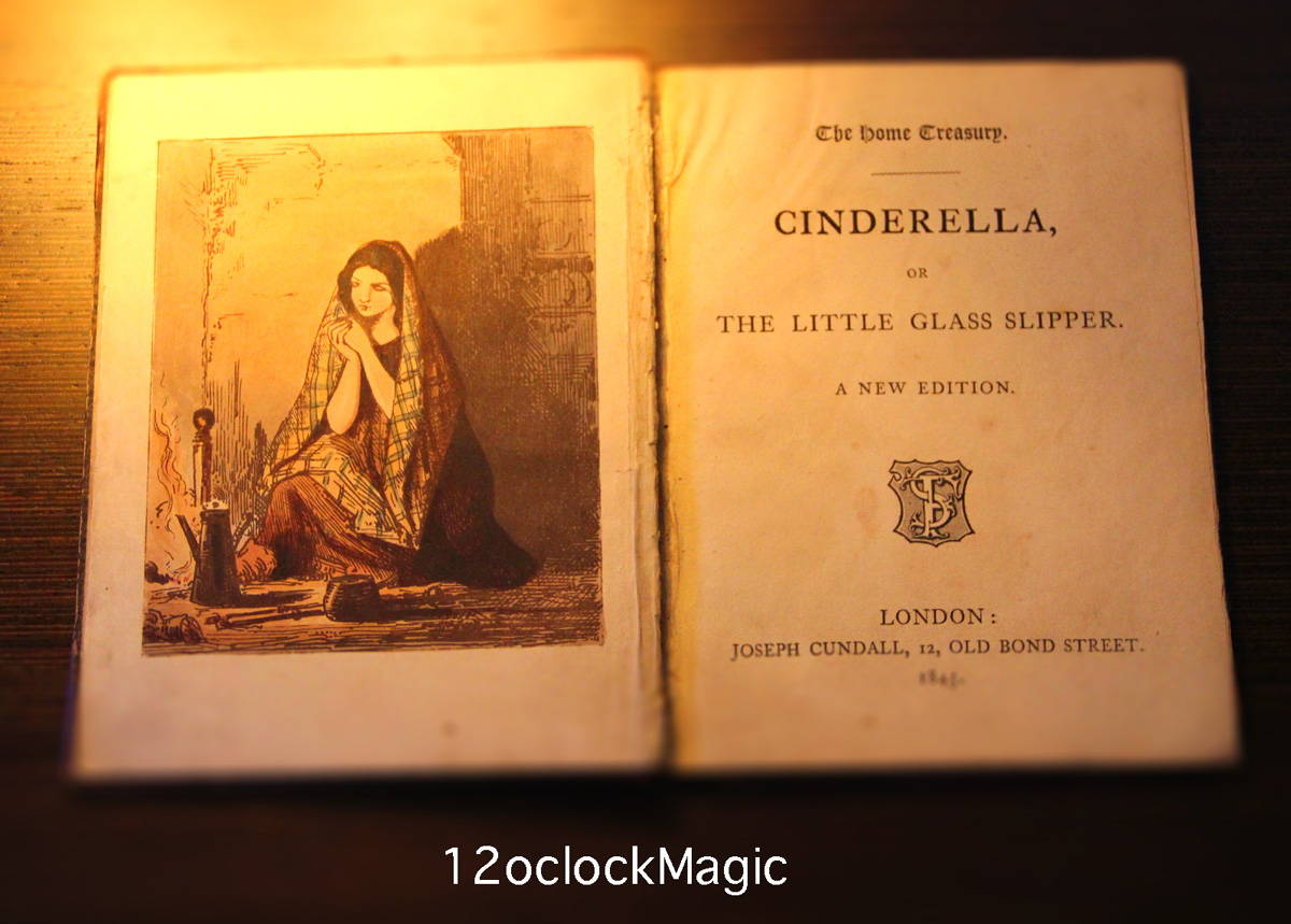 """Inside cover of book """"Cinderella, or small glass shoes"""" (publication year 1845)"""