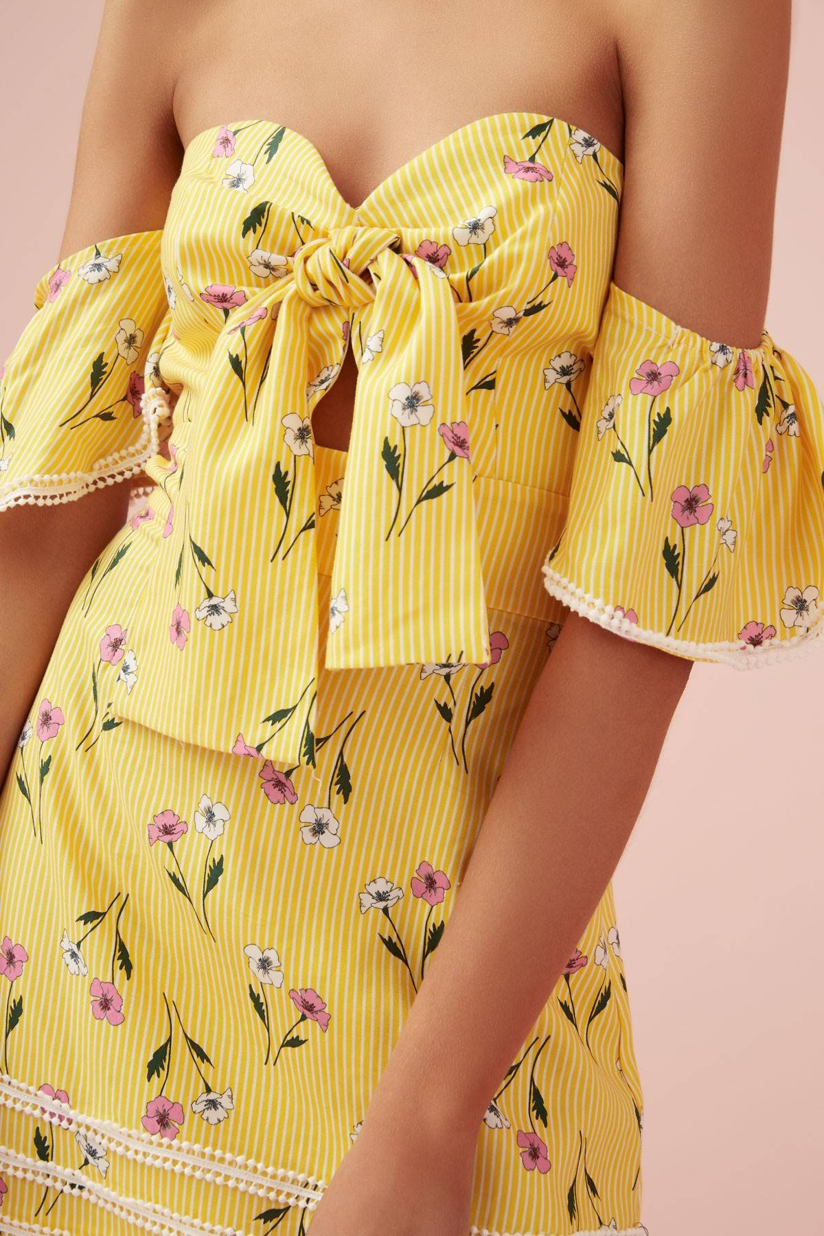 Finders Keepers Limoncello Mini Dress - Yellow Floral