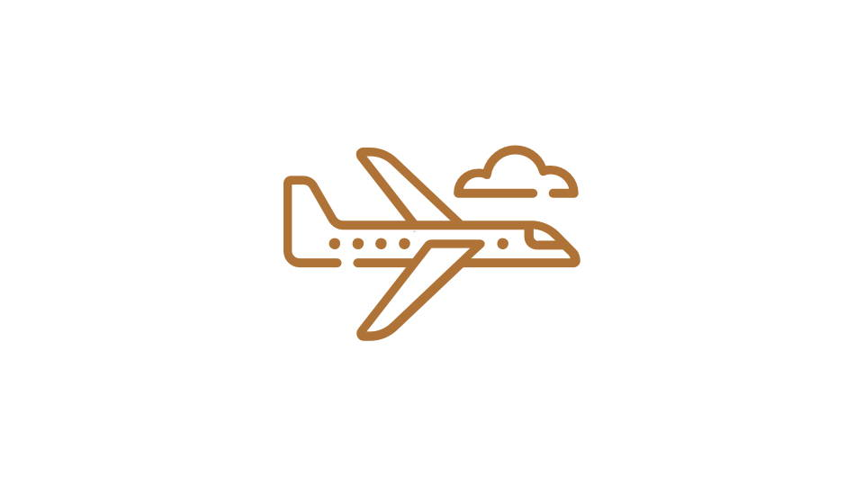 Orange image of a plane - icon style