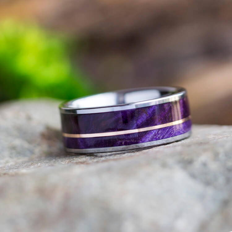 PURPLE BOX ELDER BURL RING WITH ROSE GOLD PINSTRIPE, TUNGSTEN RING