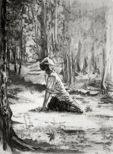 Black and white sketch of young Joseph Smith kneeling on the forest flooor and gazing up toward the sky..