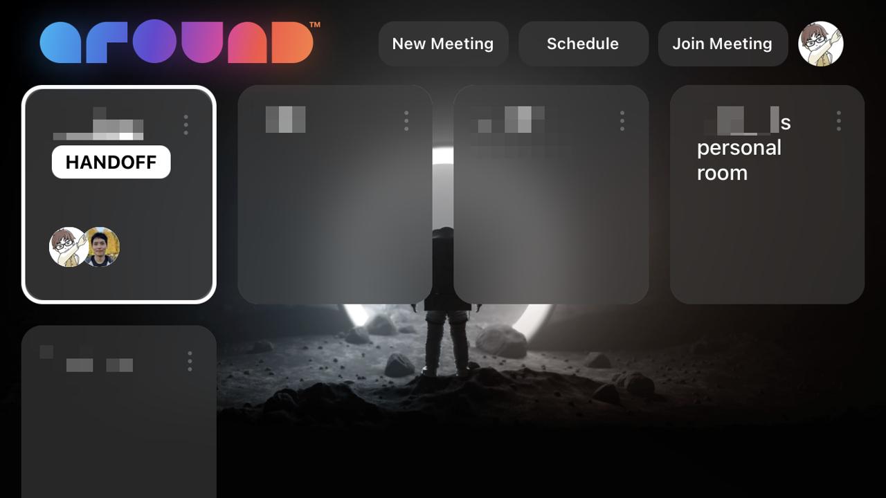 他の端末で参加中のミーティングがあると「HANDOFF」が表示される