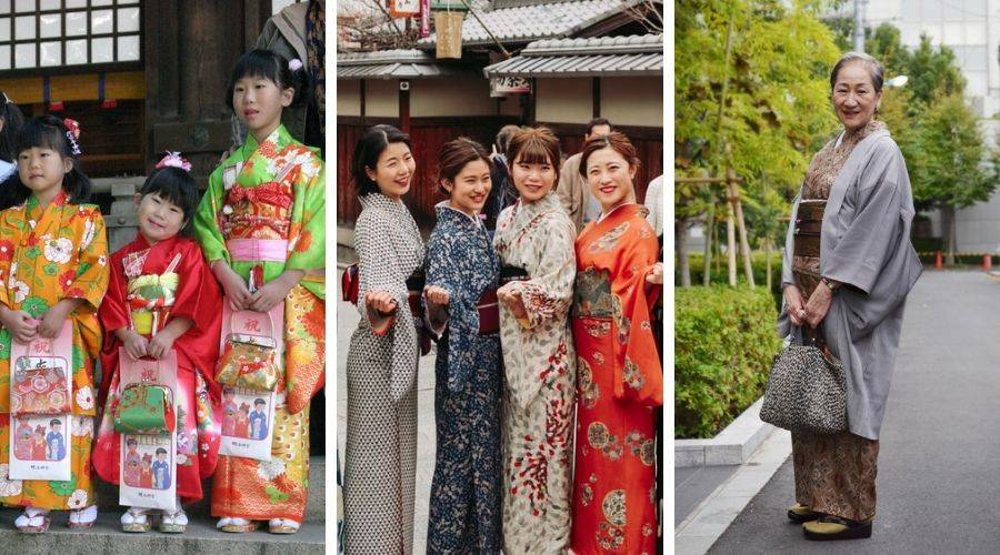 3 different generations wearing different kimono
