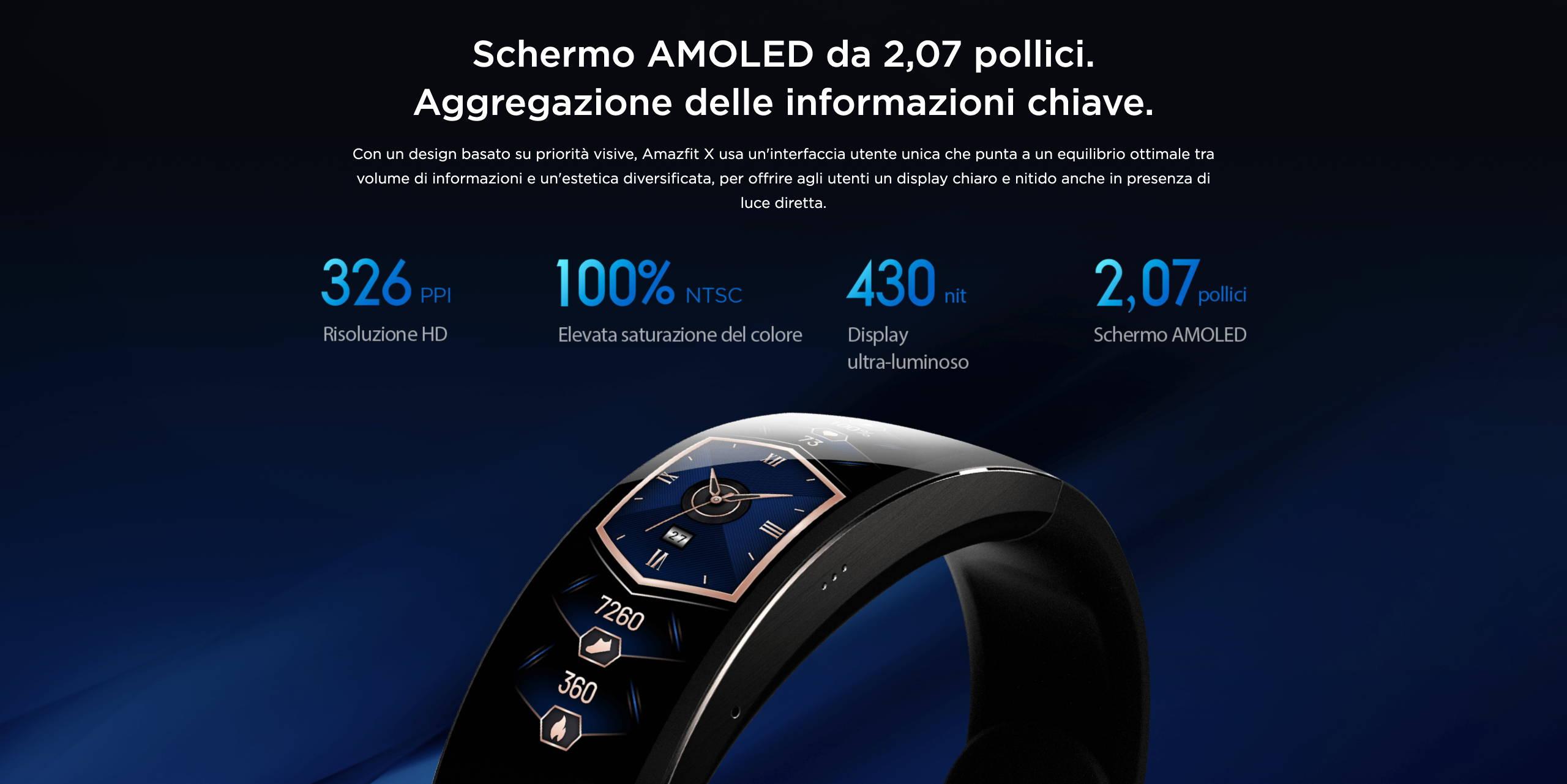 Amazfit X - Schermo AMOLED da 2,07 pollici. Aggregazione delle informazioni chiave.