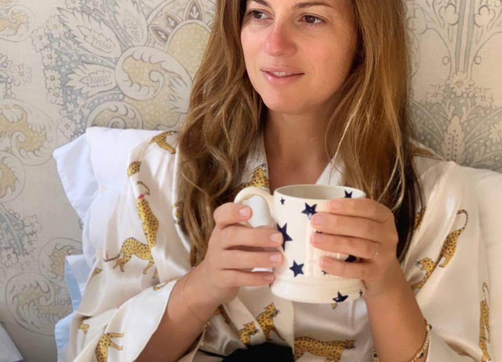 Serena Hood of Collagerie, wears YOLKE's Prowling Leopard Silk Dressing Gown