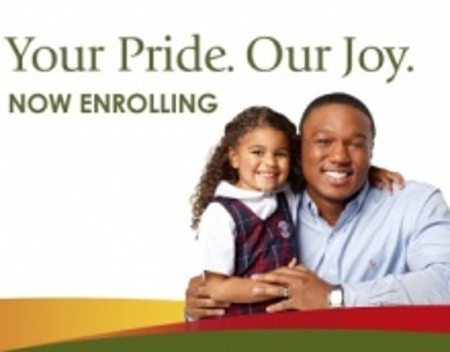 Now enrolling poster featuring a young Primrose student in uniform standing next to her father and smiling
