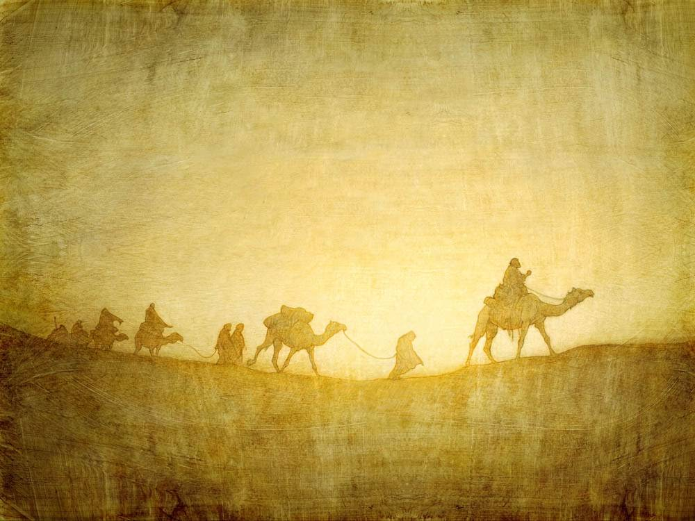 LDS painting of a silhouette of the Nativity wisemen's caravan.