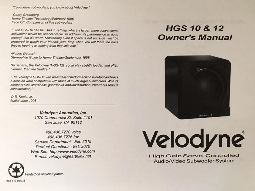 Velodyne HGS-10 Black Gloss Servo-Controlled Subwoofer -- L@@K !!!
