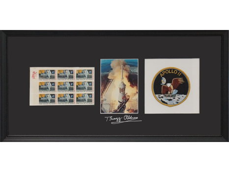 APOLLO 11 STAMP COLLECTION , PHOTO OF SATURN V LAUNCH AND PATCH SIGNED BY BUZZ ALDRIN