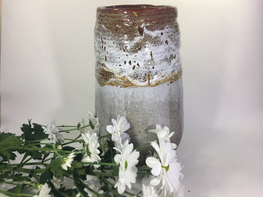 """Керамическая ваза с широким горлом ручной работы """"Три шоколада"""". Высота 27 см."""