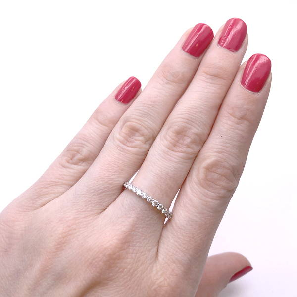 thin engagement ring with diamonds all around