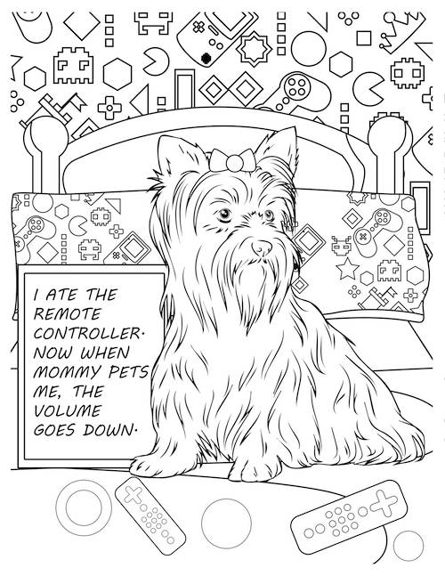 ate the remote dog coloring page