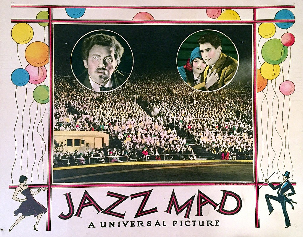 Lobby Card for the 1928 silent film Jazz Mad