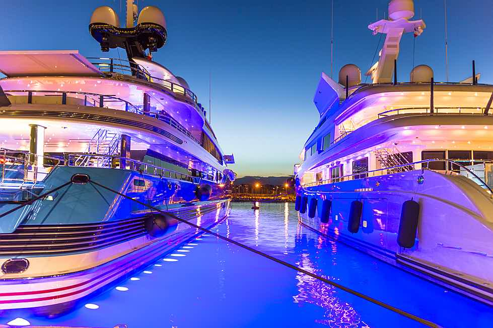 Luxembourg - superyachts moored at Port Vauban, Antibes, France.