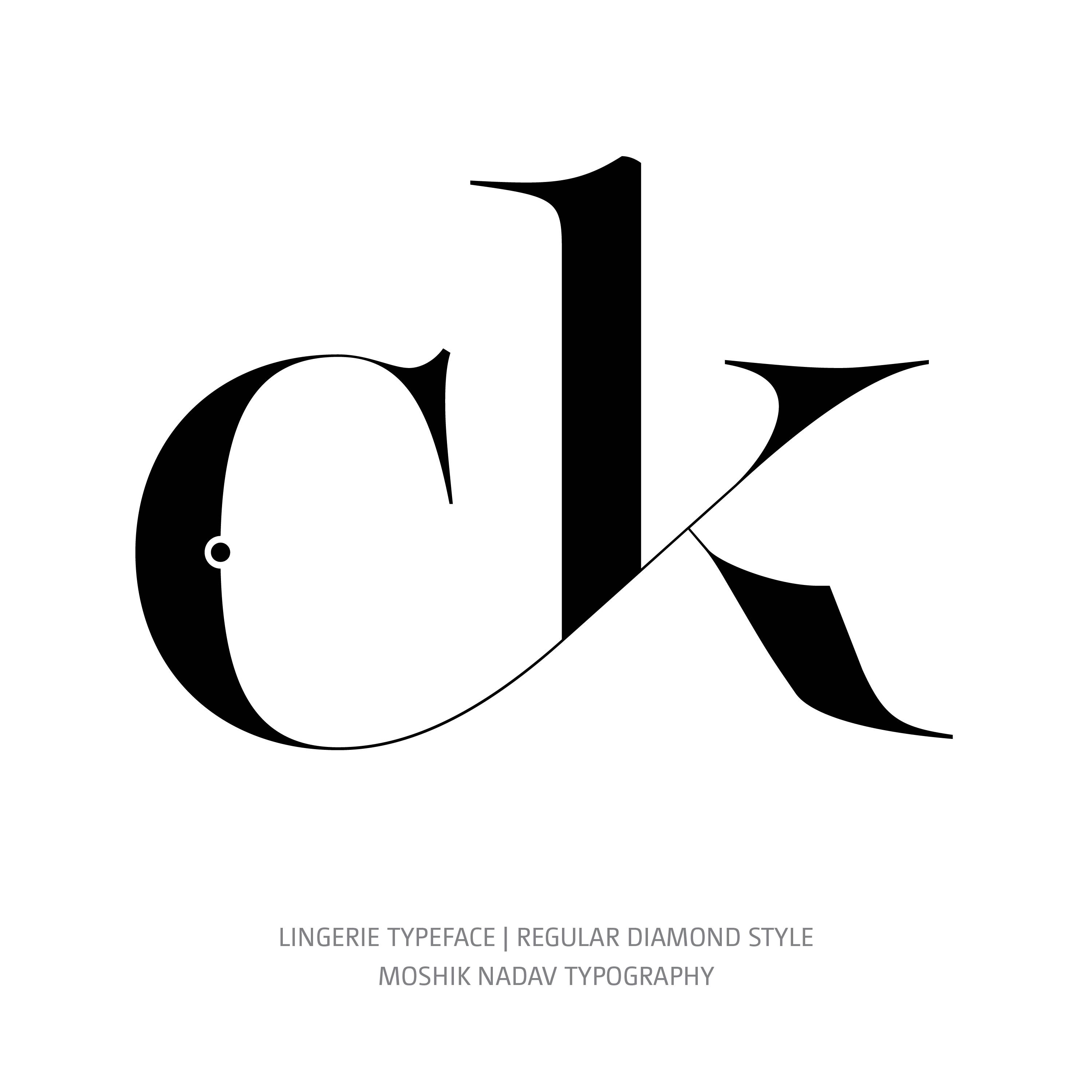 Lingerie Typeface Regular Diamond ck ligature glyph