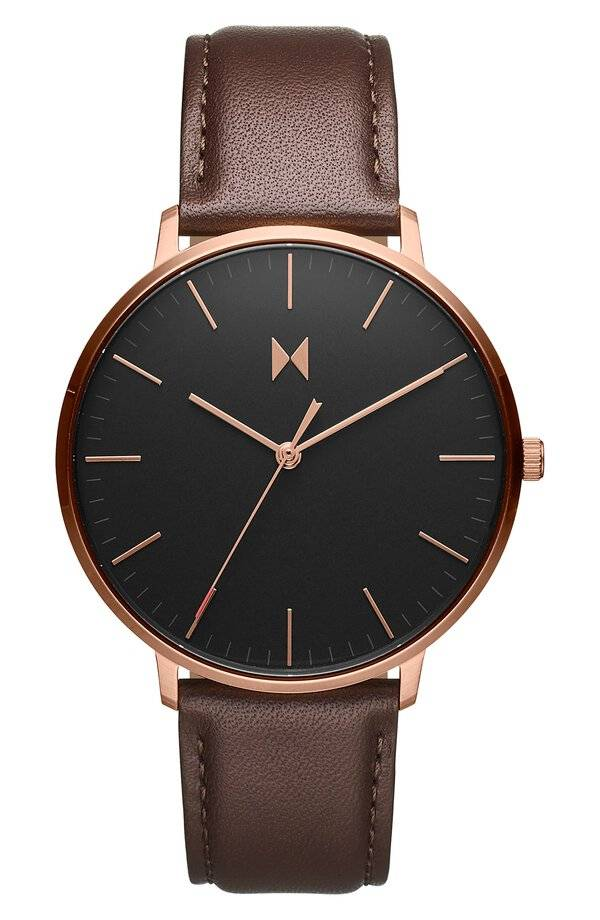 Legacy Slim Leather Strap Watch, 42mm In Black/ Brown Color