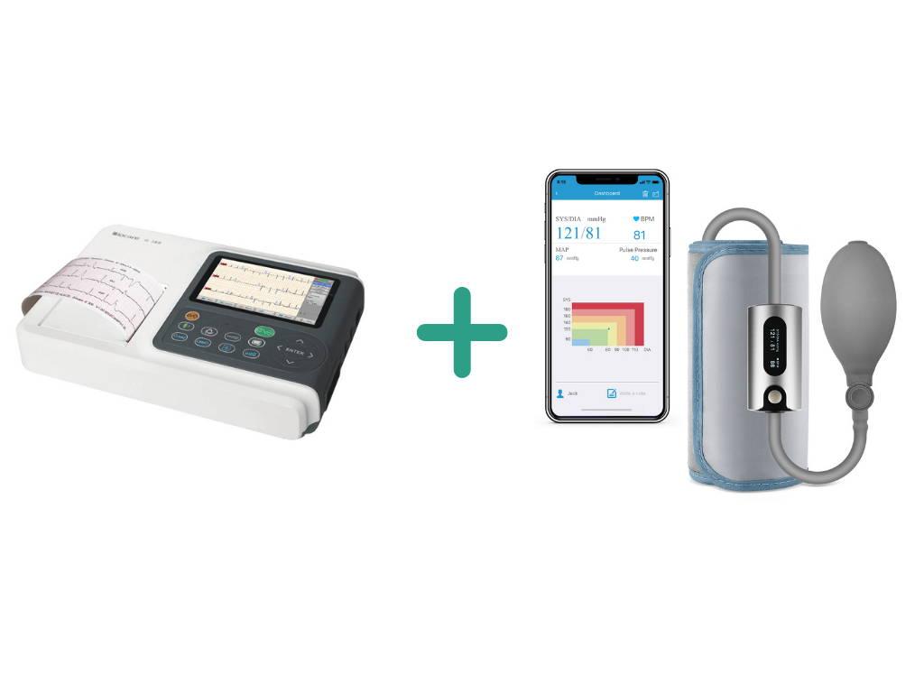 جهاز قياس ضغط الدم اللاسلكي Wellue مع شاشة صغيرة ويدعم اتصال البلوتوث.