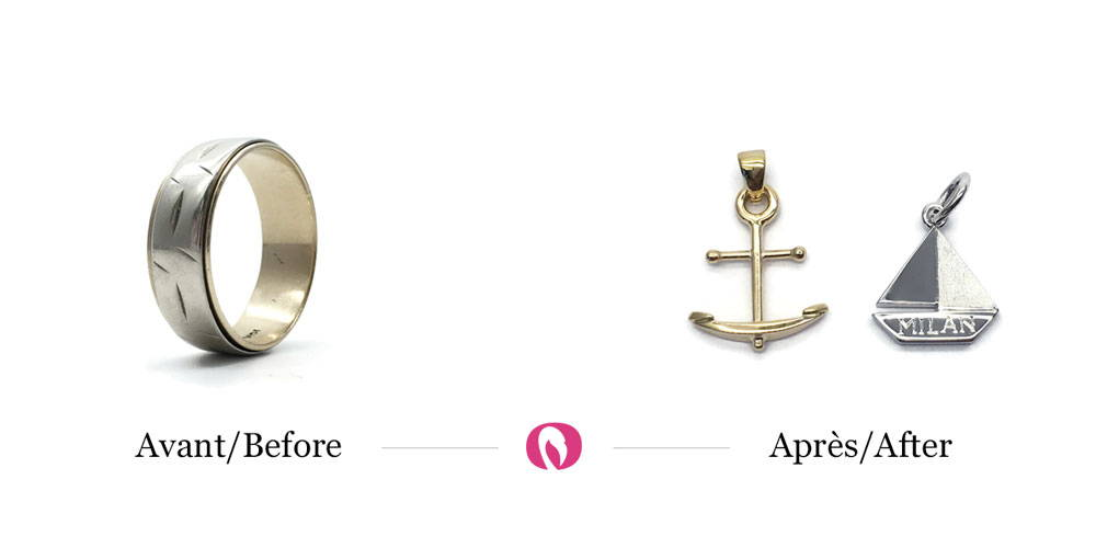 Recycling of a two-tone rod into two pendants anchor and boat
