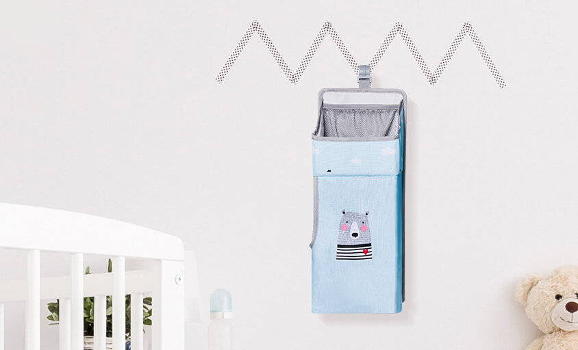 sunve, nursery organizer, baby sorage organizer, Hanging Diaper Organization Storage for Baby Essentials hang on crib