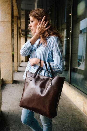 Коричневая женская кожаная большая сумка шоппер