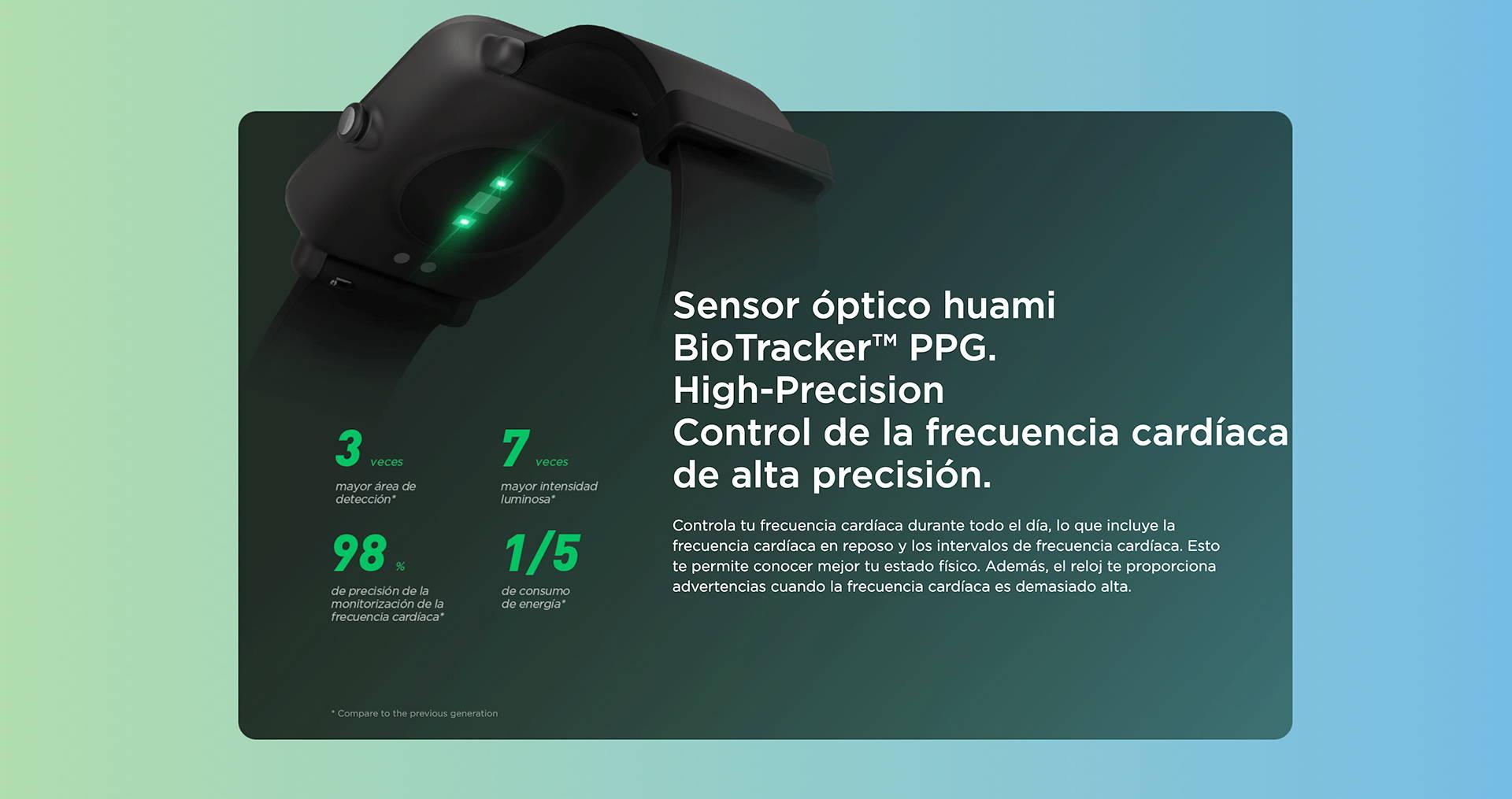 Amazfit ES - Amazfit Bip S Lite - Sensor óptico huami BioTracker™ PPG. | High-Precision Control de la frecuencia cardíaca de alta precisión.