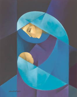 Abstract, cubism painting of Mary holding infant Jesus in shades of blue and purple.