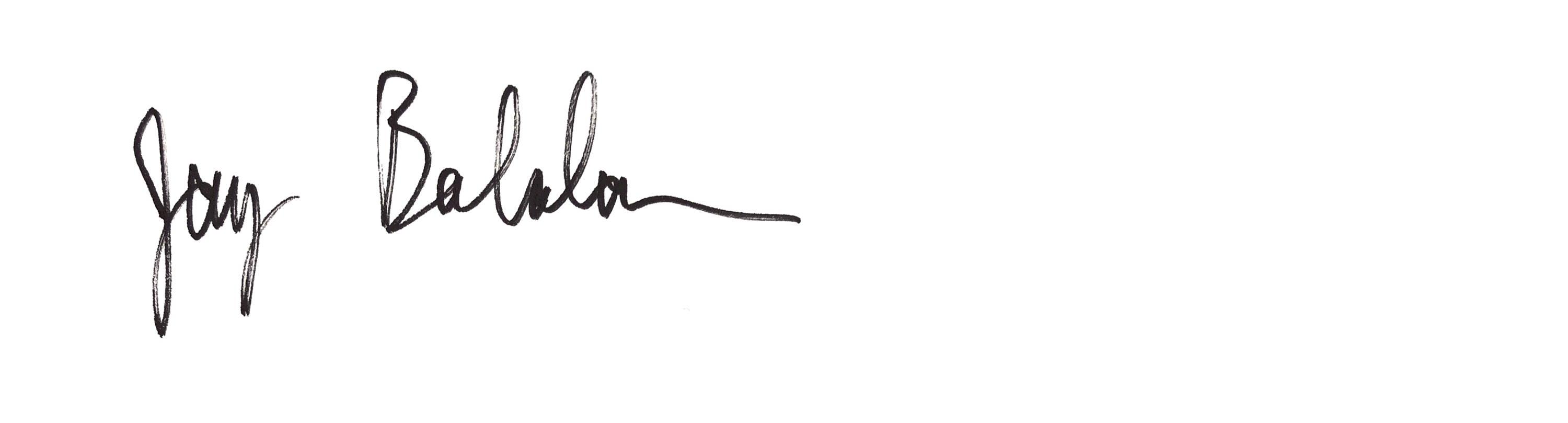 handwritten signature of ceo and founder of connected apparel jay balaban