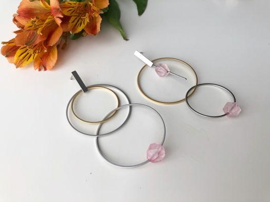 Асимметричные серьги с розовым кварцем