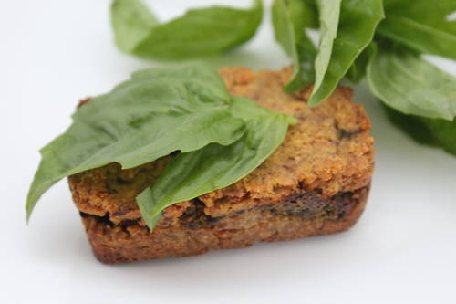 gluten-free, dairy free, refined sugar free, plant-based carrot flour and basil pesto mini loaf