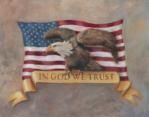 """Painting of the United States flag with an bald eagle standing on a banner that reas """"In God We Trust""""."""