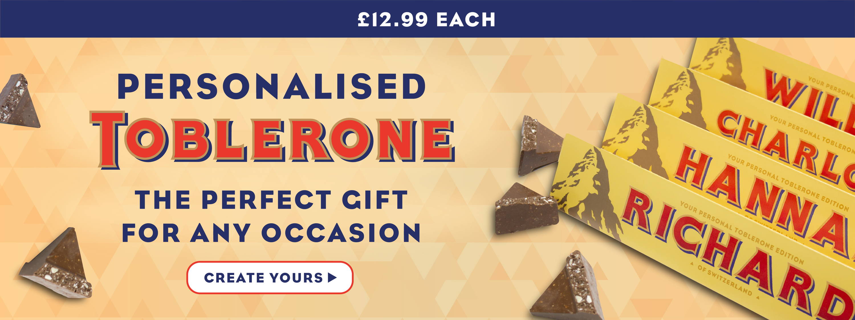 Personalised Toblerone - £12.99 each or 2 for £22