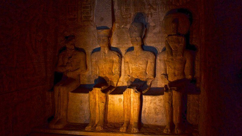 Statues inside Abu Simbel, Egypt