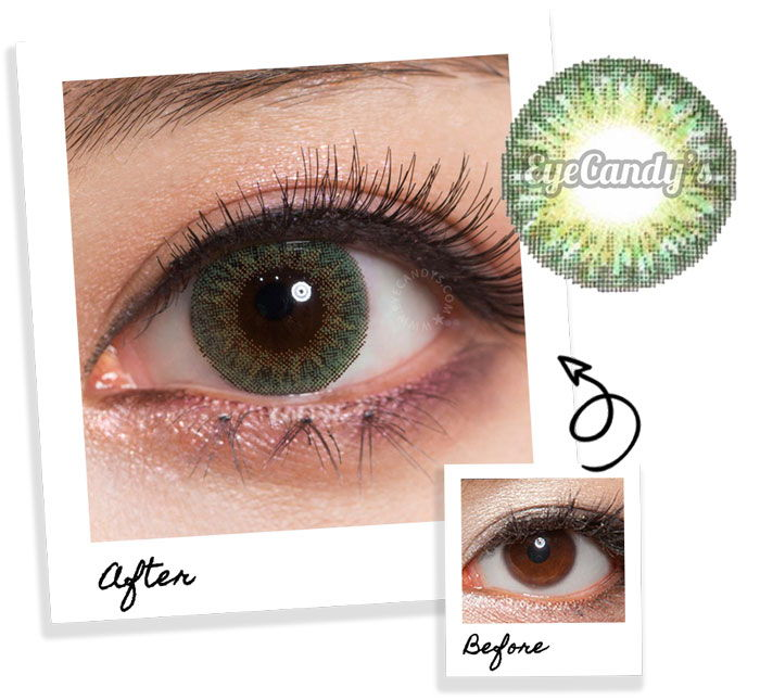 Green circle contact lenses for brown eyes
