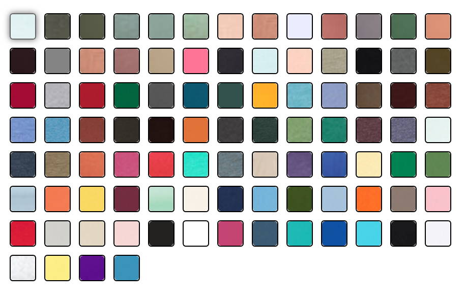 Many color options for custom shirts