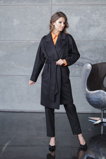 Пальто черное Bonali 7010-0605