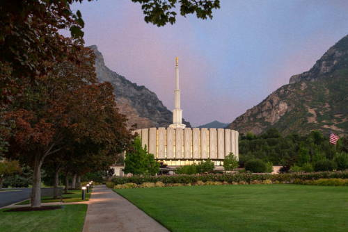 A green stretch of lawn leading to the Provo Utah Temple.