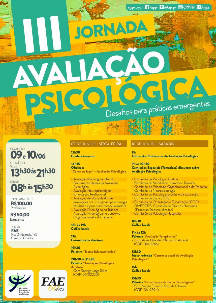 III Jornada de Avaliação Psicológica – Desafios para práticas emergentes