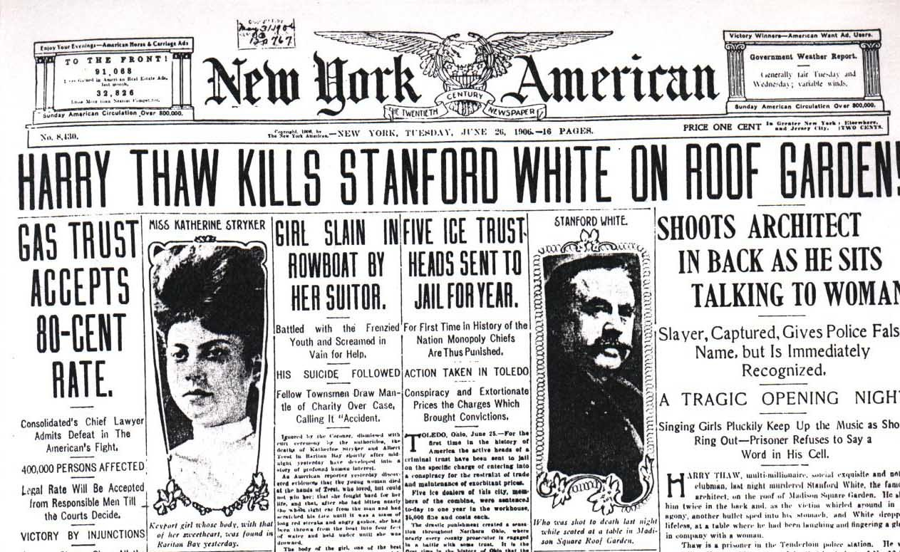 A newspaper with the headline Harry thaw kills Stanford White on roof garden
