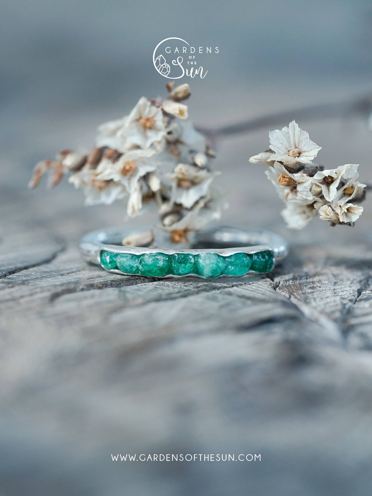 Everyday silver emerald ring