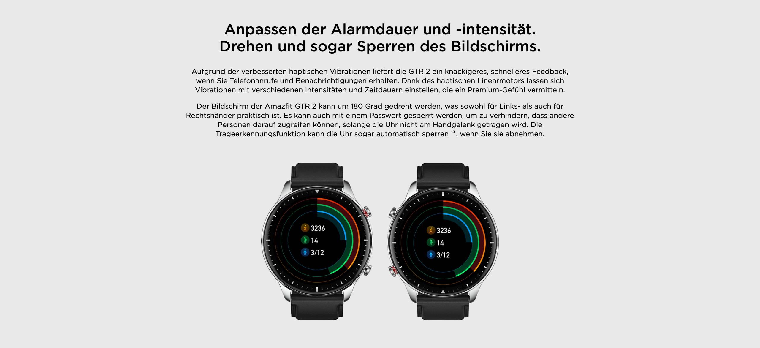 Amazfit GTR 2 - Anpassen der Alarmdauer und -intensität. Drehen und sogar Sperren des Bildschirms.